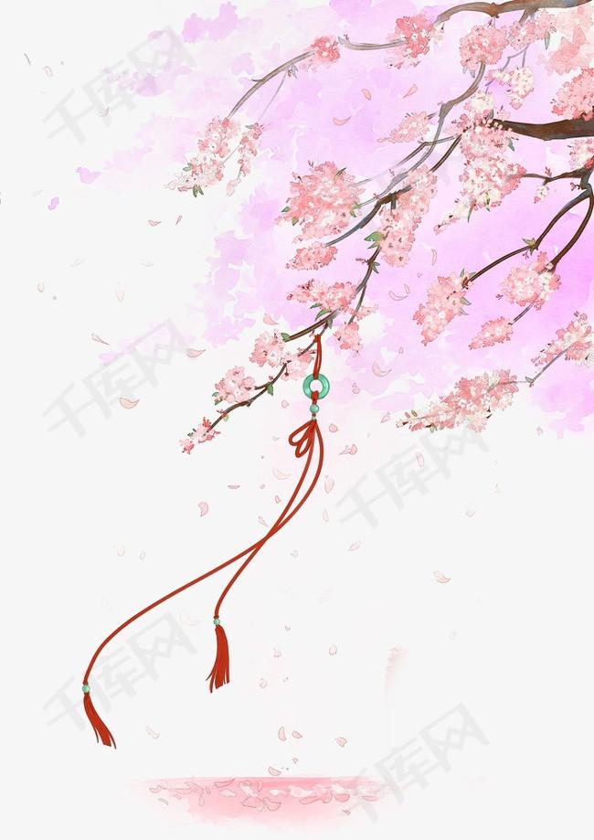 唯美古风手绘插画飘落的樱花中国风彩色水墨画水彩画风景落花流水图片