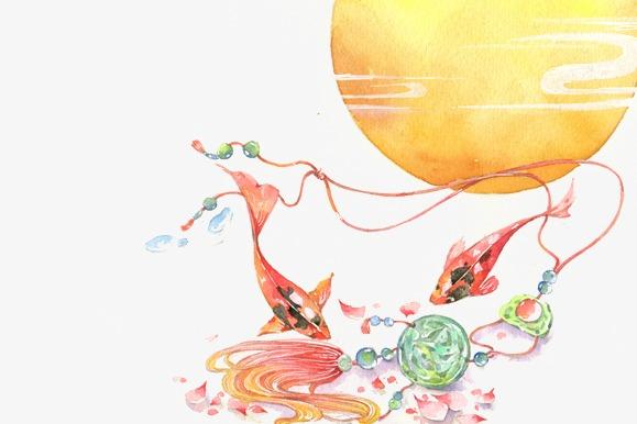 唯美古风手绘插画锦鲤鱼玉佩中国风彩色水墨画水彩画风景落花流水图片