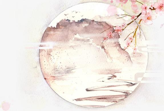 唯美古风手绘插画月亮风景中国风彩色水墨画水彩画落花流水山清水秀图片
