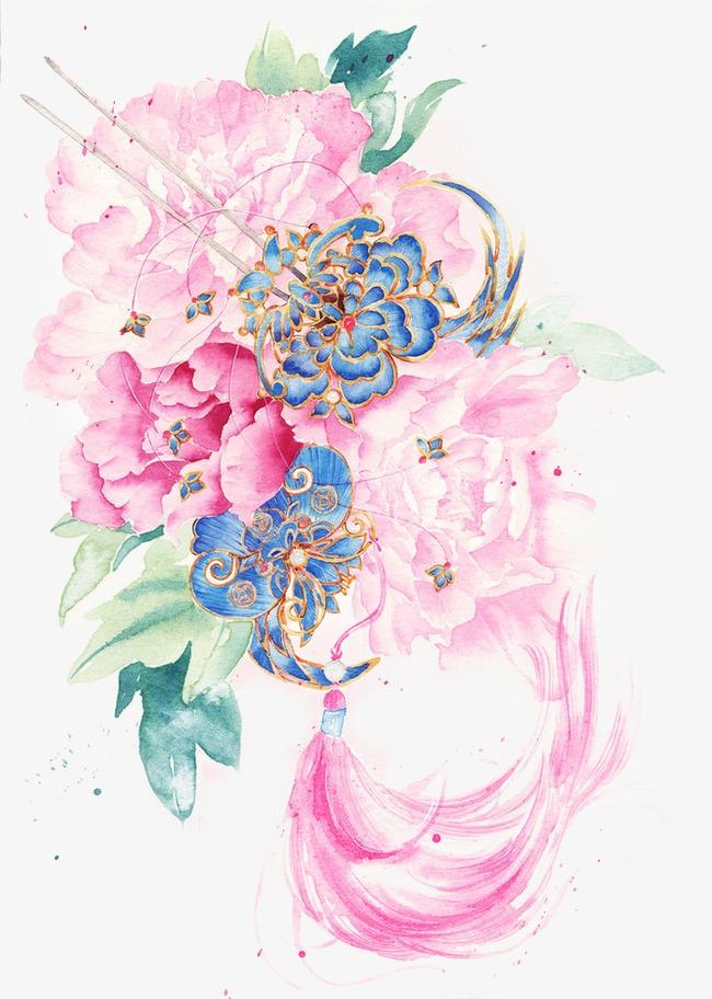 唯美古风手绘插画富贵牡丹中国风彩色水墨画水彩画风景落花流水山