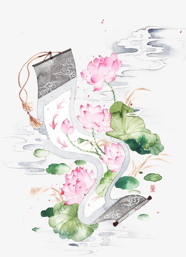 唯美古风手绘插画荷花卷轴中国风彩色水墨画水彩画风景落花流水山图片