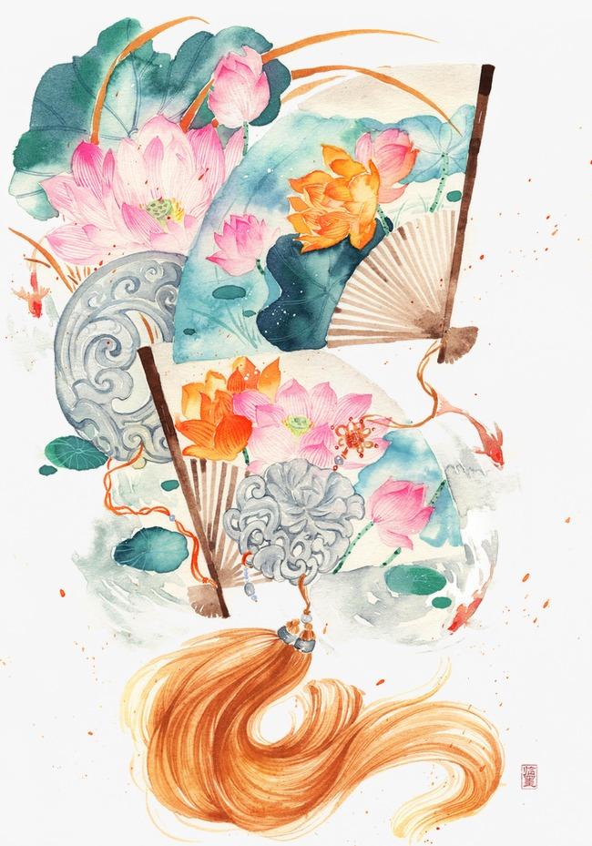 唯美古风手绘插画纸扇中国风彩色水墨画水彩画风景落花流水山清水秀