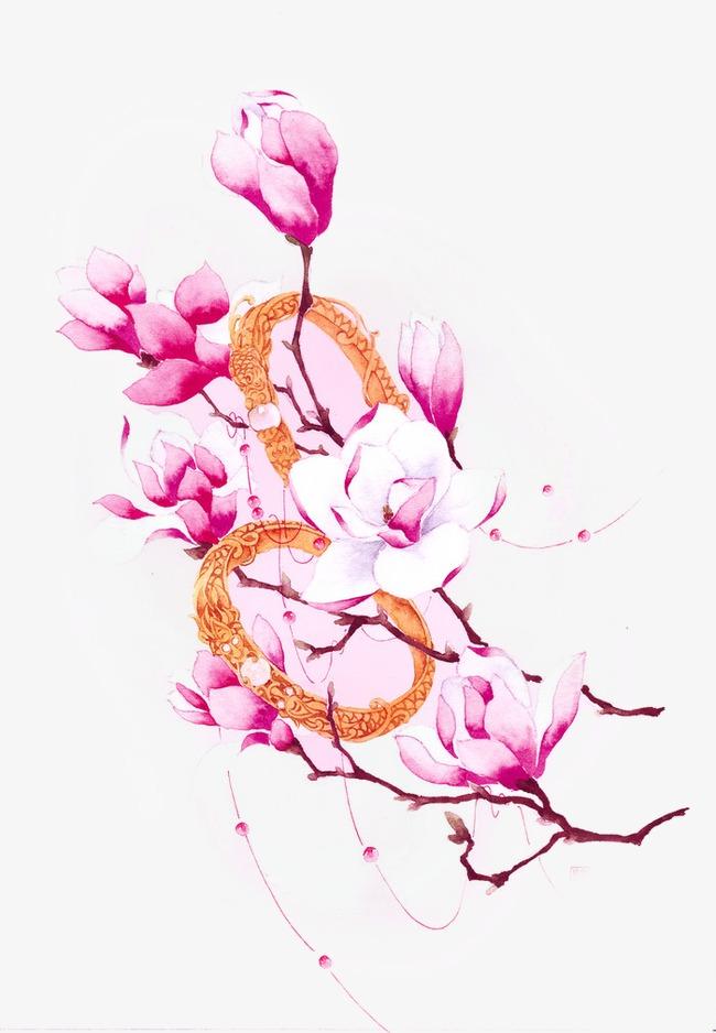 唯美古风手绘插画桃花花苞中国风彩色水墨画水彩画风景落花流水山图片