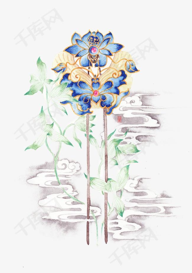 唯美古风手绘插画中国风彩色水墨画水彩画风景落花流水山清水秀古风