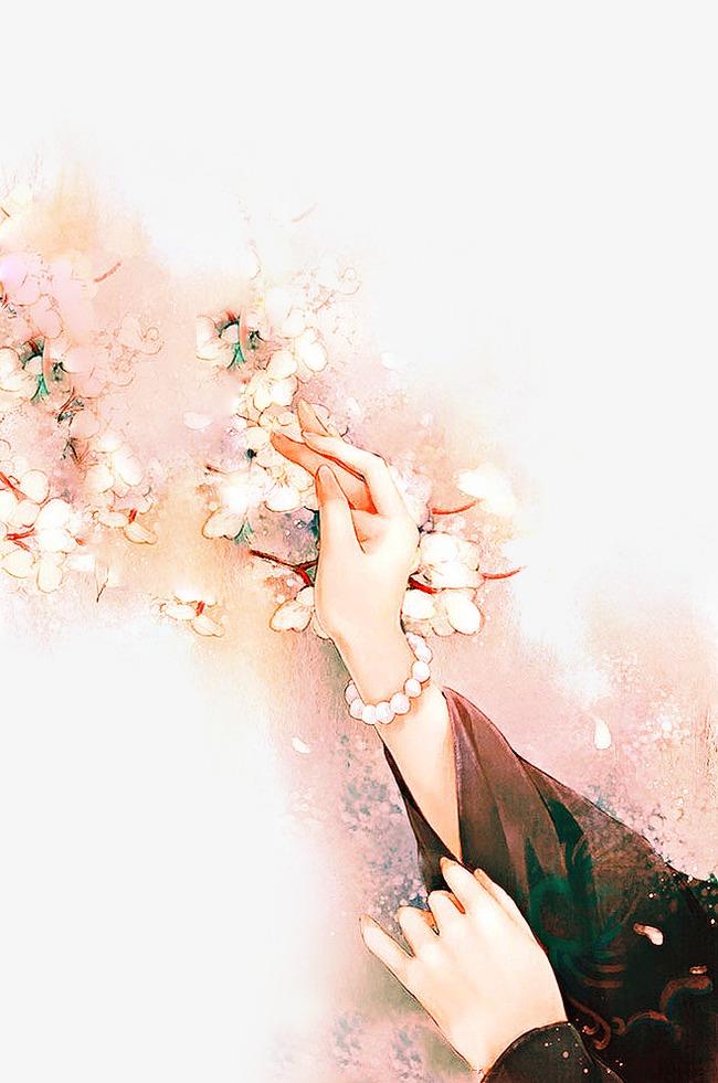 唯美古风手绘插画手中国风彩色水墨画水彩画风景落花流水山清水秀古