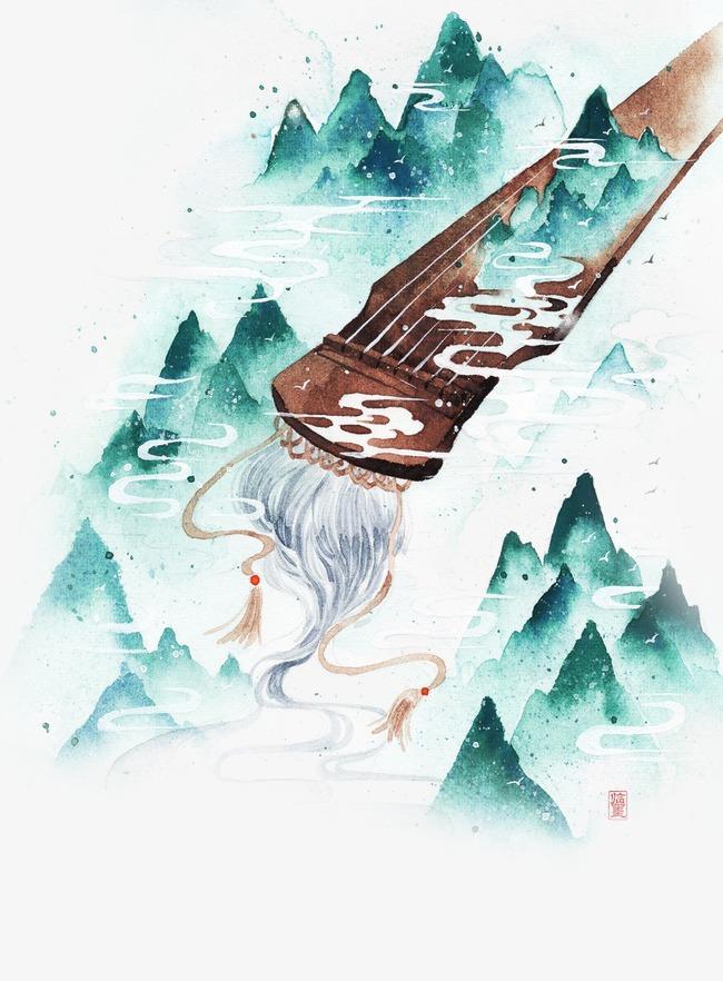 唯美古风手绘插画古筝琴中国风彩色水墨画水彩画风景落花流水山清水
