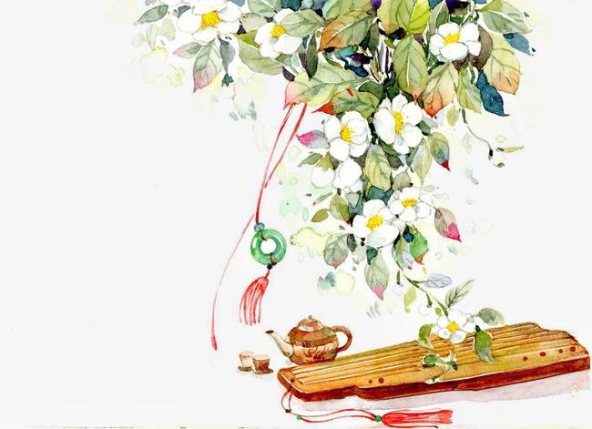 唯美古风手绘插画琴茶壶品茶中国风彩色水墨画水彩画风景落花流水