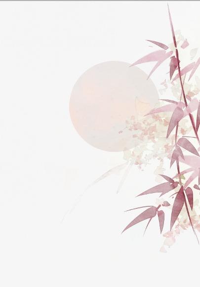 唯美古风手绘插画月光竹叶竹子中国风彩色水墨画水彩画风景落花流水