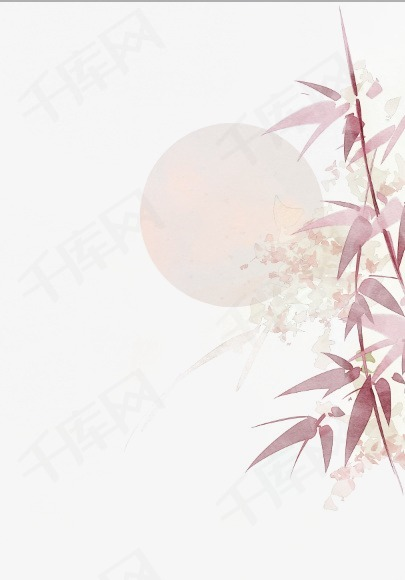 唯美古风手绘插画月光竹叶竹子中国风彩色水墨画水彩画风景落花流水图片