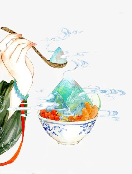 唯美古风手绘插画古代手势中国风彩色水墨画水彩画风景落花流水山图片