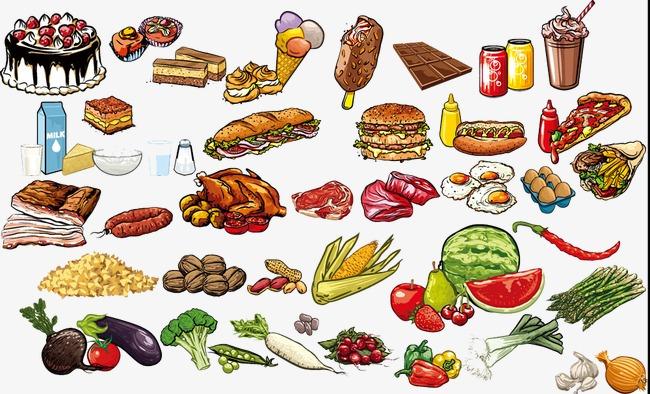 手绘蔬菜与食物图片