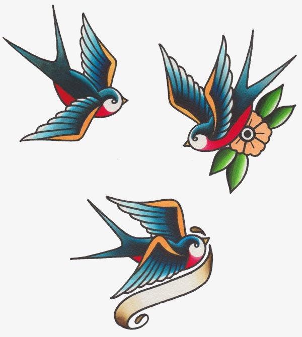 复古风手绘燕子
