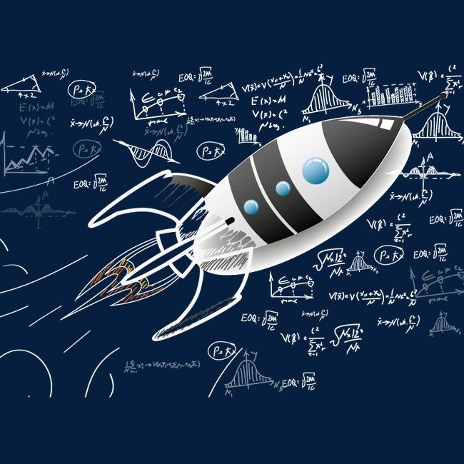 创意黑白火箭png素材-90设计