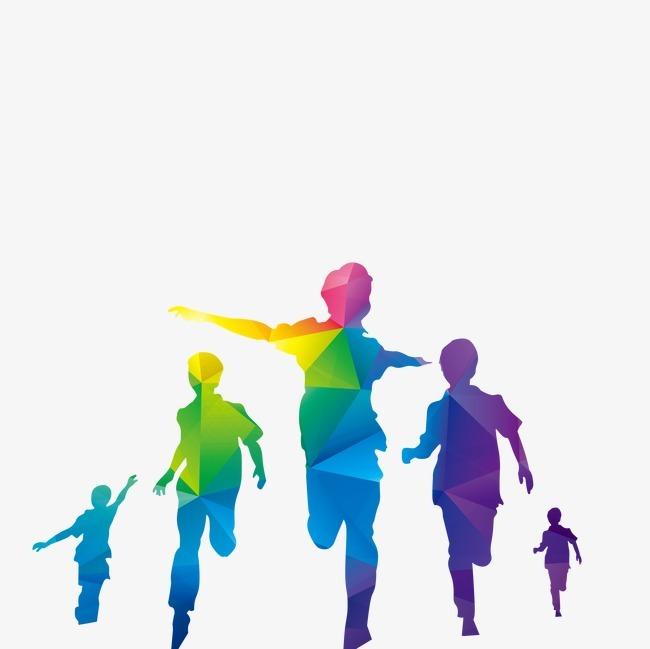 彩色炫彩 人物 手绘人物 奔跑的人青少年彩色炫彩 人物 手绘人物