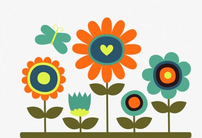 卡通花朵和蝴蝶.图片