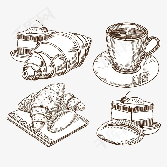 矢量手绘面包和茶下午茶面包茶茶杯