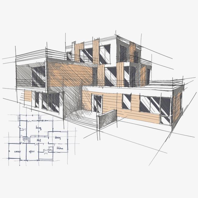 矢量房子手绘图