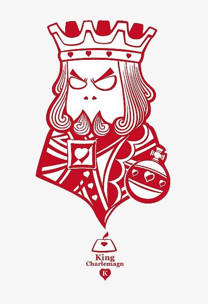 扑克牌q版红色king
