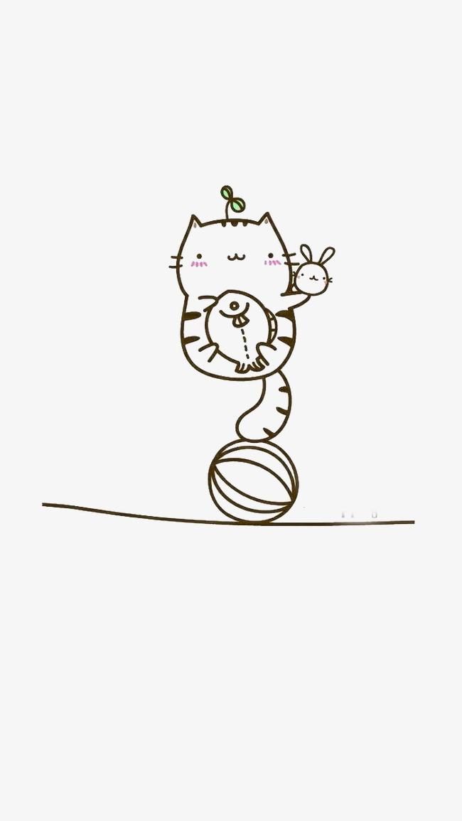 手绘猫咪简单卡通线条猫咪可爱图片