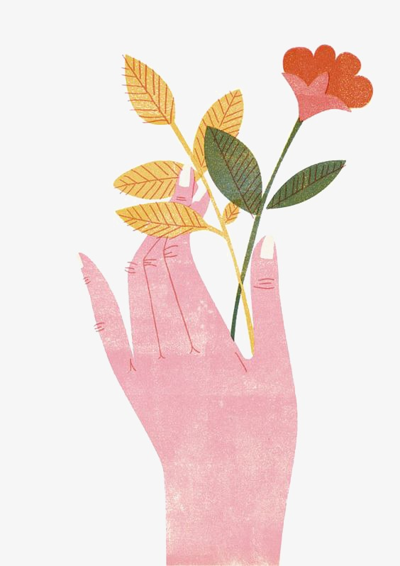 手里拿着一枝花