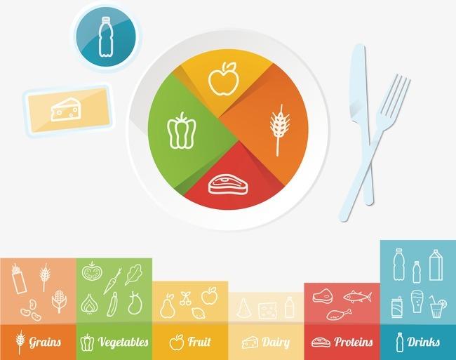 营养膳食手绘图案矢量图