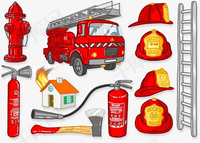 消防图标消防栓消防车灭火器