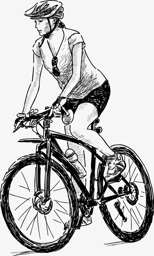 手绘自行车女