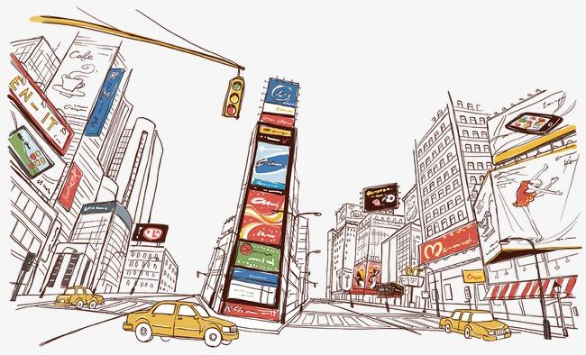 手绘彩色都市城镇街景