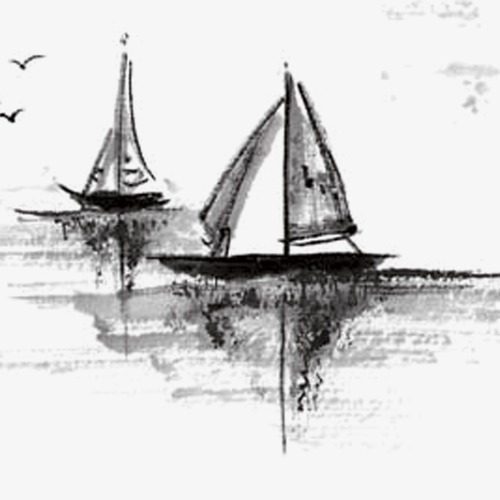 手绘中国风帆船