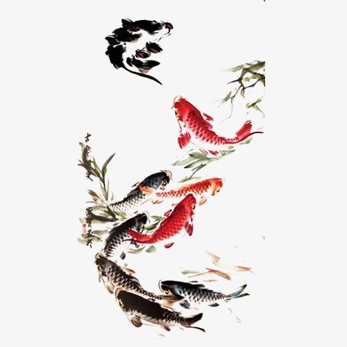 中国风手绘金鱼【高清装饰元素png素材】-90设计