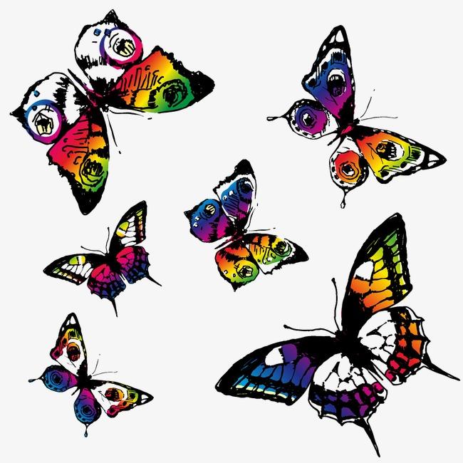 创意花纹蝴蝶png素材-90设计