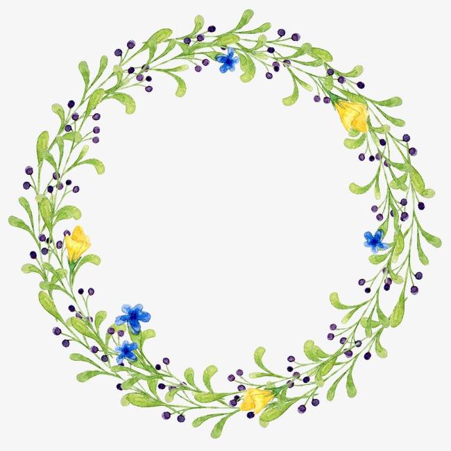 手绘植物花环