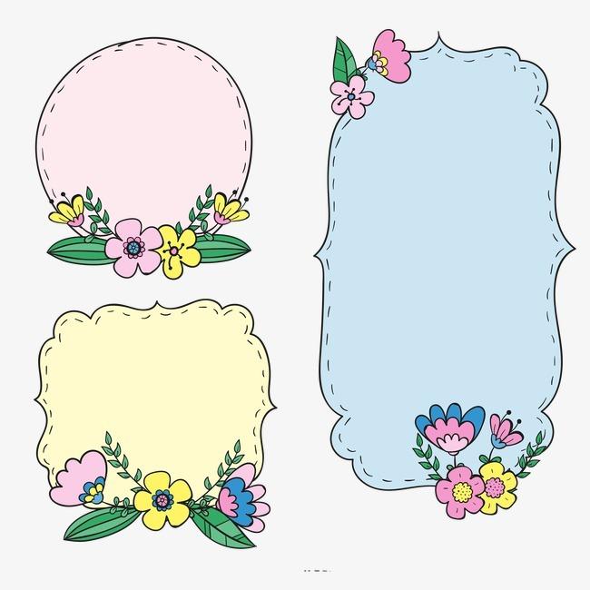 复古花卉贴纸png素材-90设计图片