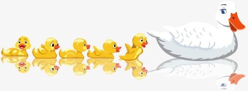 家禽 家畜卡通动物 手绘动物 家禽 家畜免扣素材 手机端:鸭子游水