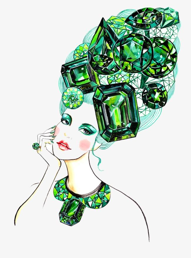 手绘宝石头发女