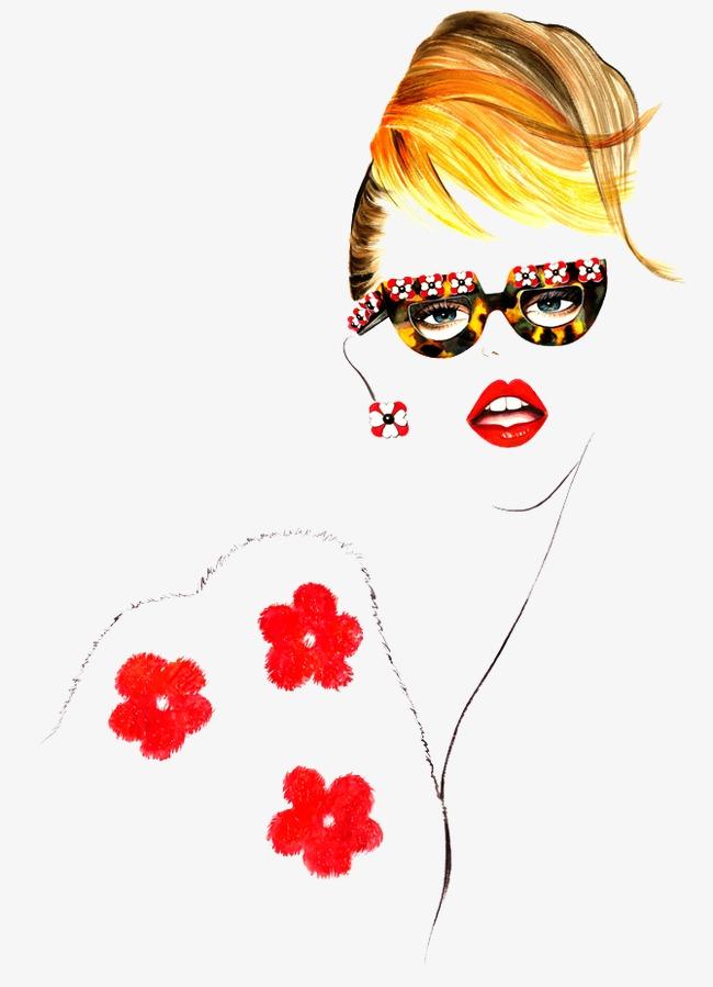 手绘红唇女头像