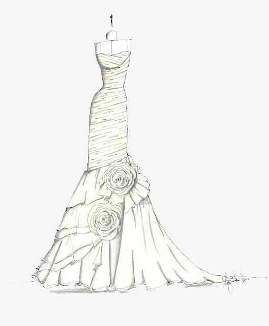 素描 服装 礼服 简约画手绘画 婚礼 裙子 马克笔画 彩铅画png免费
