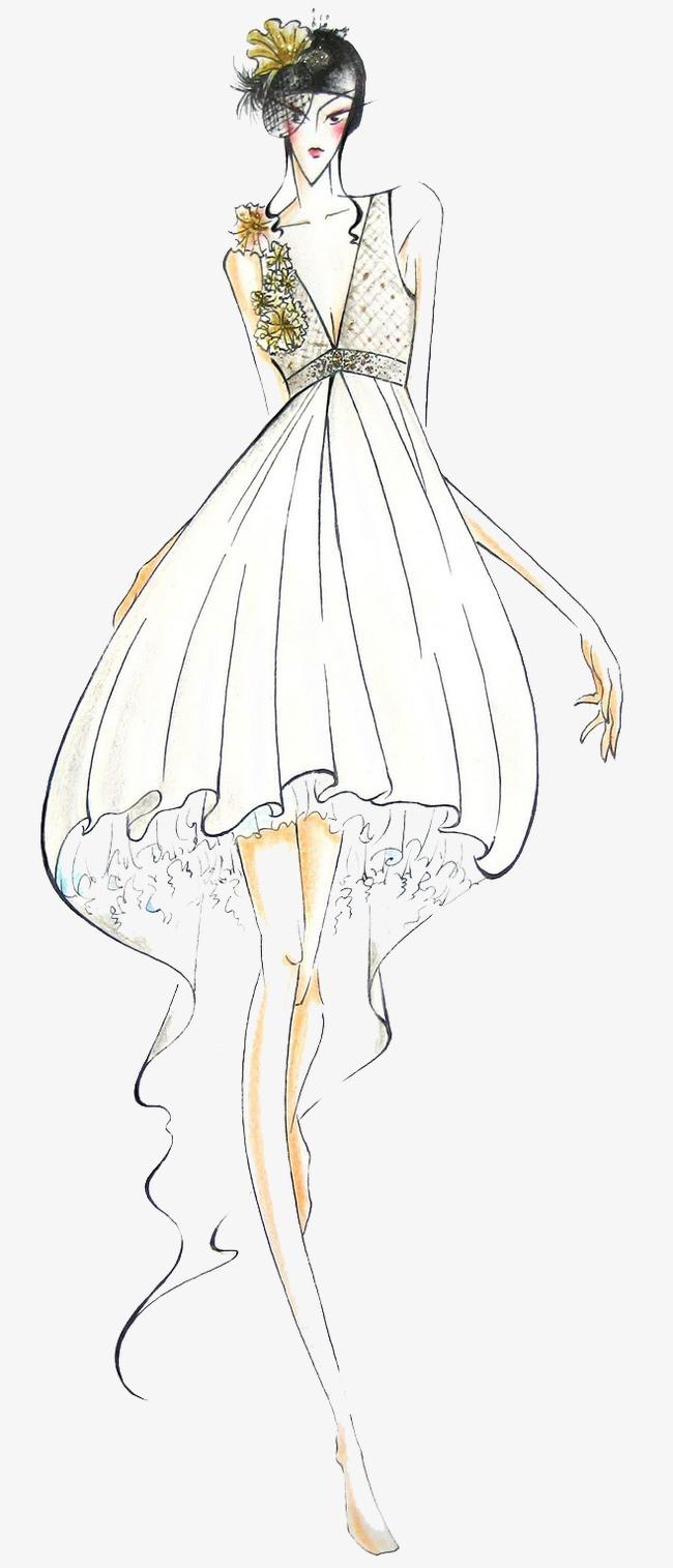手绘性感婚纱