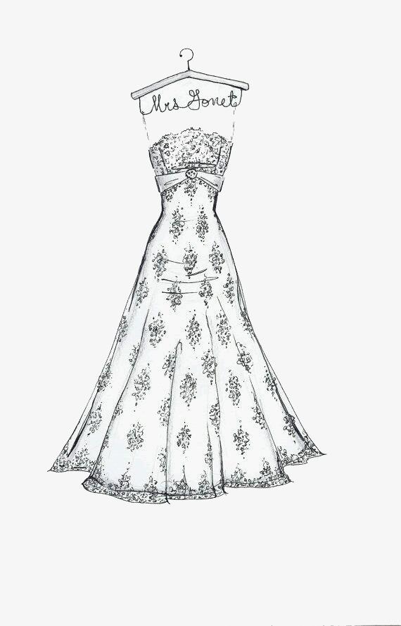 礼服 服装 简约画手绘画 婚礼 裙子 马克笔画 彩铅画免扣素材