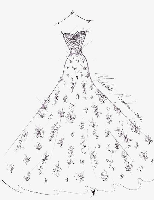 手绘婚纱素材图片免费下载 高清卡通手绘png 千库网 图片编号3695096图片