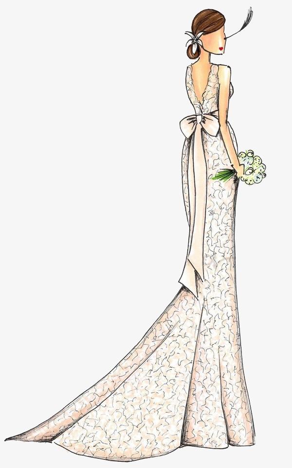 手绘婚纱背影