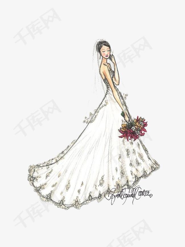 手绘白色婚纱素材图片免费下载 高清png 千库网 图片编号3695140