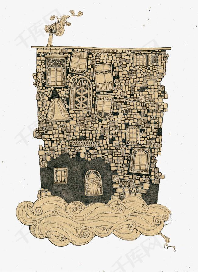 手绘楼房插画抽象古典房屋建筑-手绘楼房插画素材图片免费下载 高清