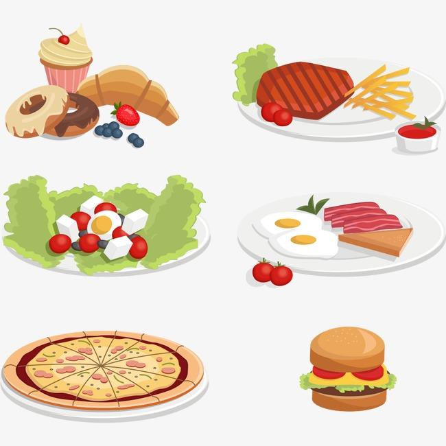 各种食物早餐