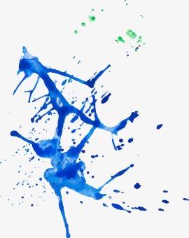 飞溅的蓝色墨汁png素材-90设计