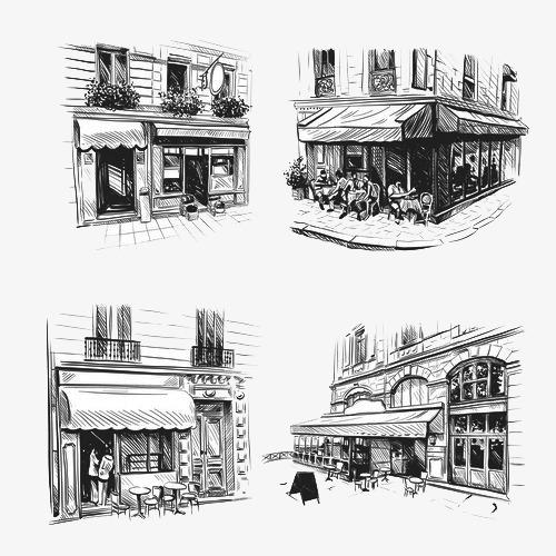 咖啡厅建筑手绘稿【高清png素材】-90设计