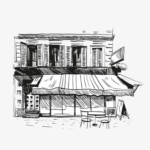 咖啡厅手绘图稿