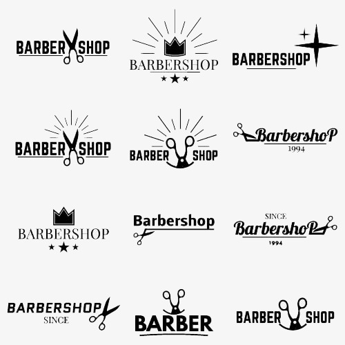 理发店英文标志设计图片