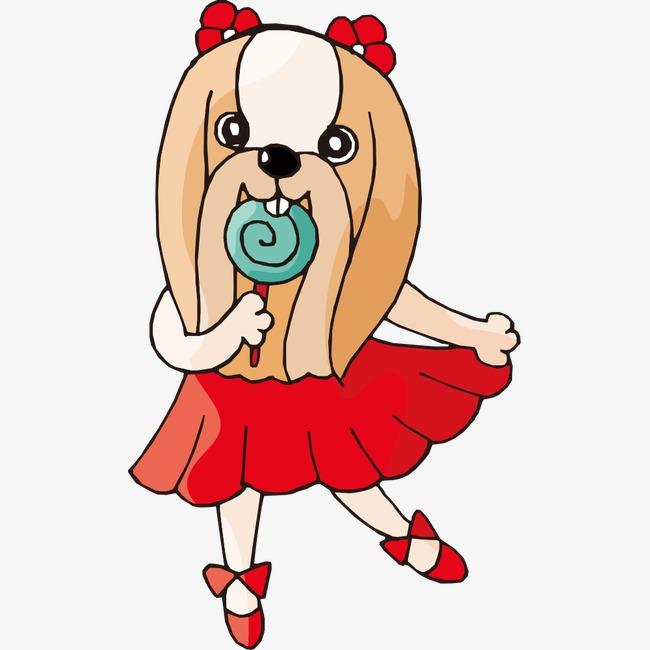 吃棒棒糖的卡通小狗