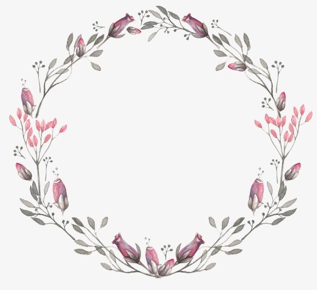 圆形花环手绘花